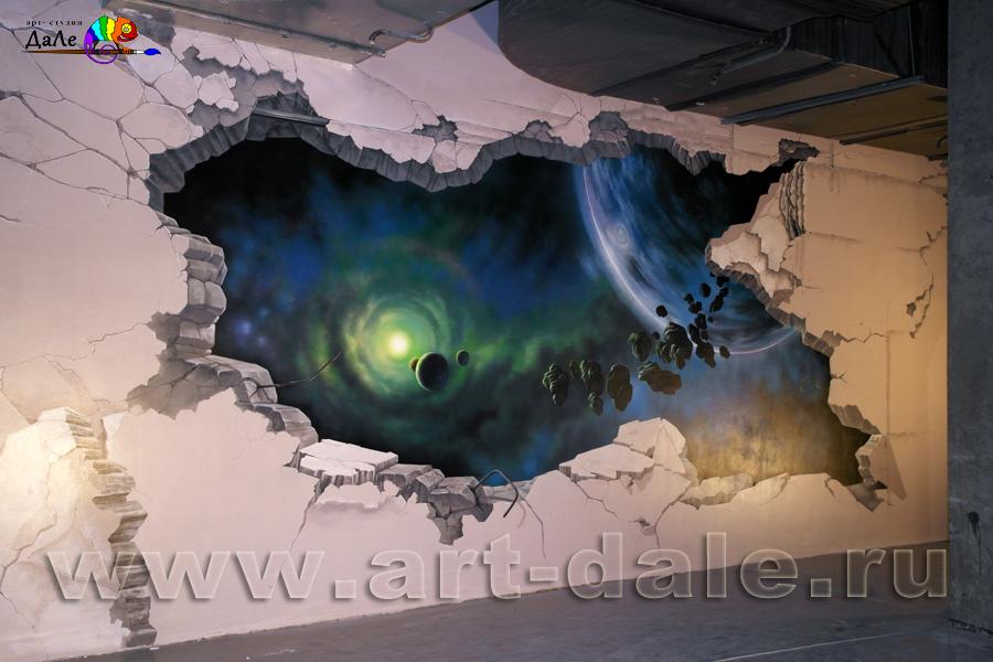 """Художественное оформление стены в развлекательном комплексе """"Континент"""""""