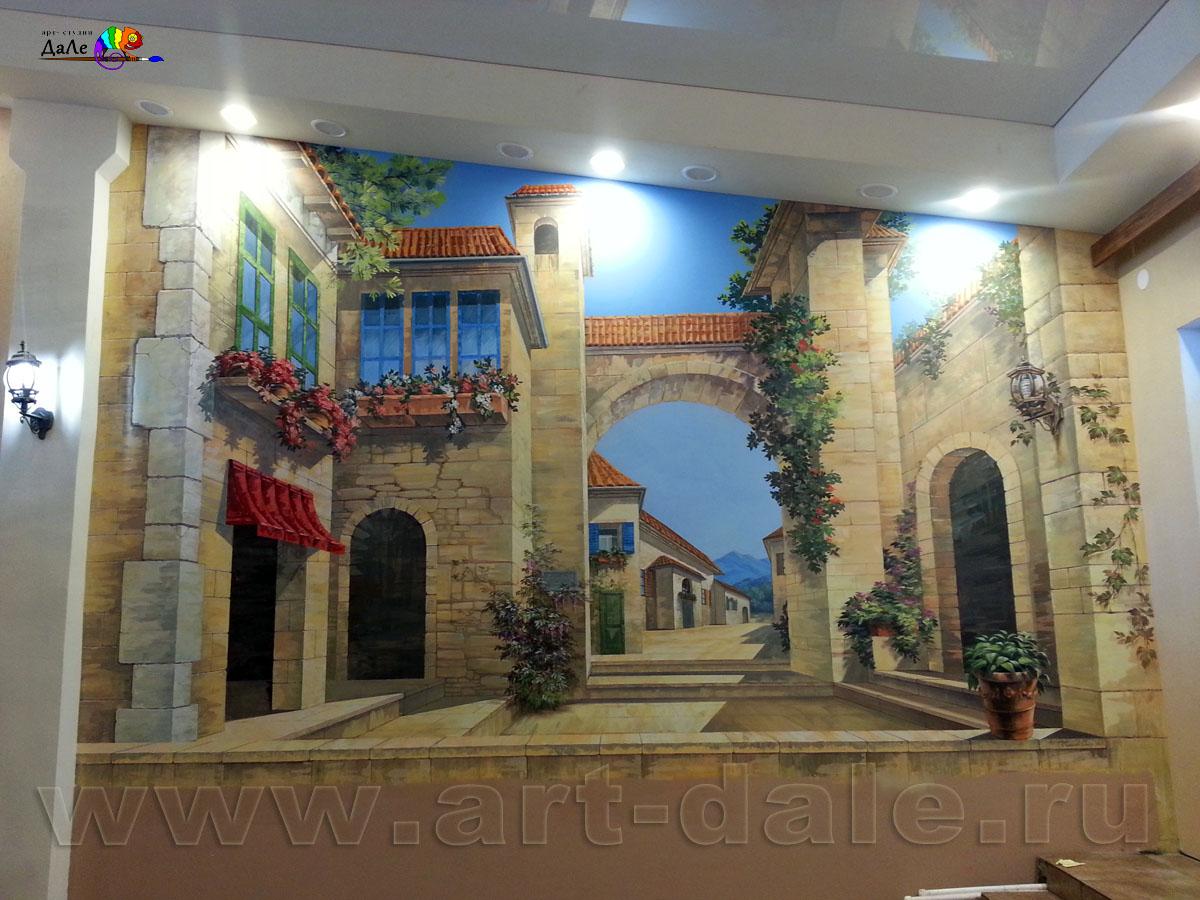 Роспись стены в ресторане Мимино в Старом Петергофе