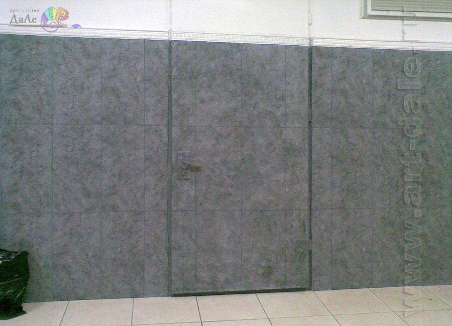 Альфрейная роспись двери под плитку. Потайная дверь