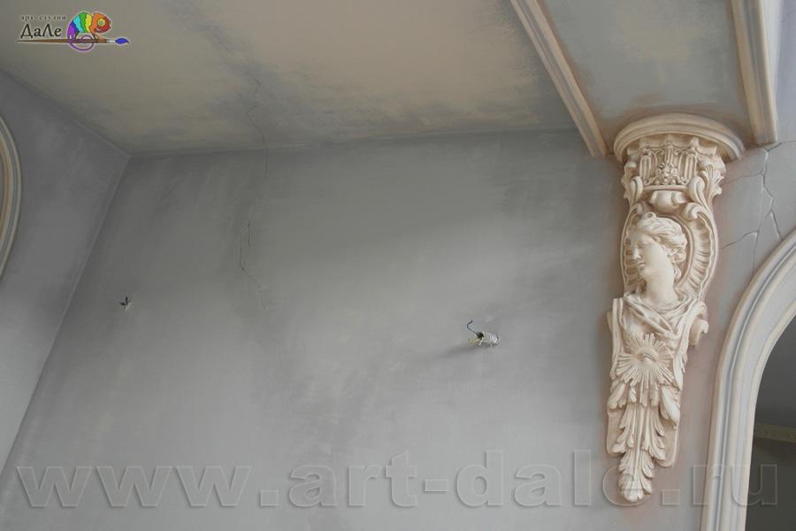 Роспись стен в стиле прованс. Декорирование лепного кронштейна