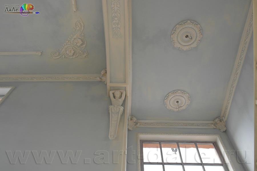 Альфрейная роспись в гостиной в стиле прованс