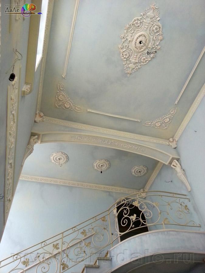 Декорирование гостиной. Альфрейная роспись стен и потолков в гостиной