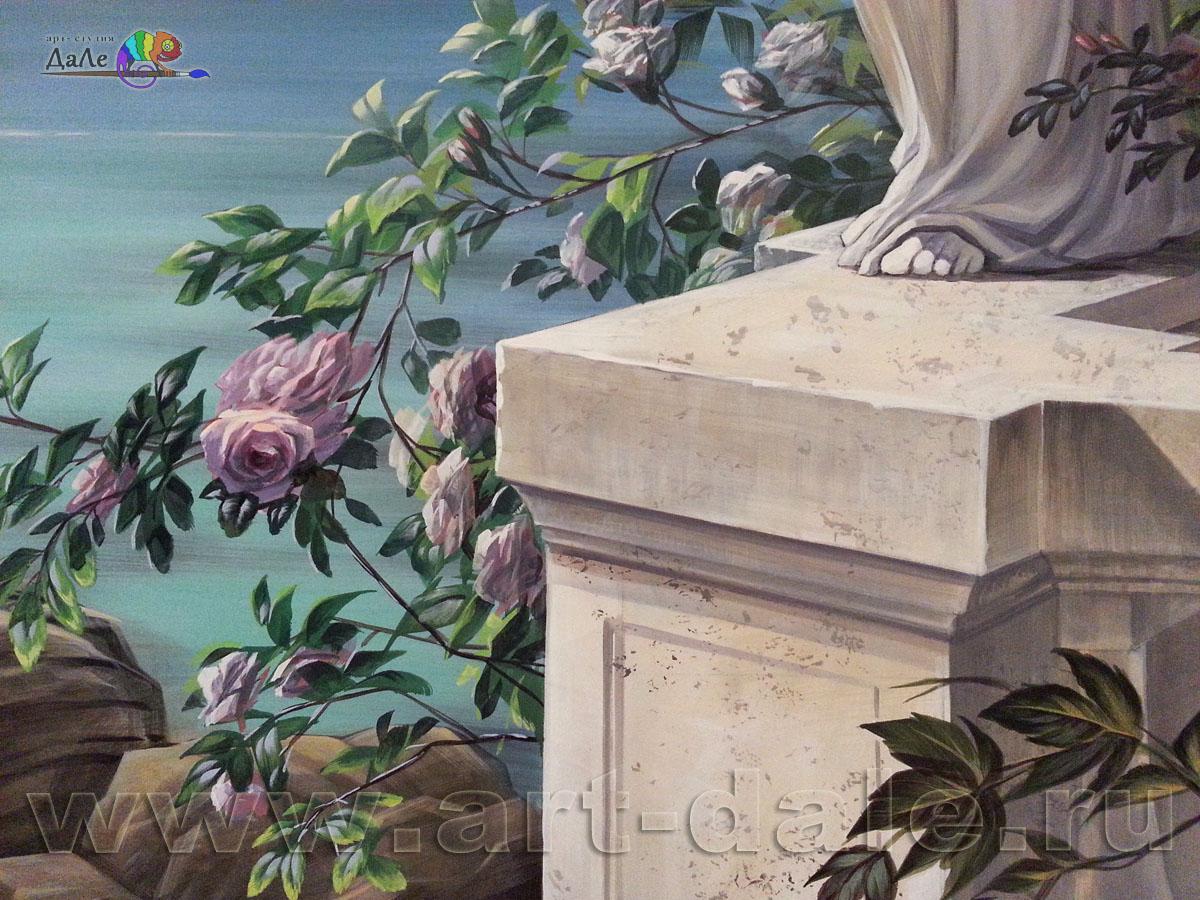 Фрагмент росписи стены. Каменная тумба и цветы