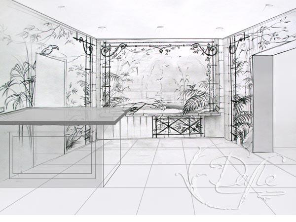 Эскиз в карандаше для росписи стен на кухне.