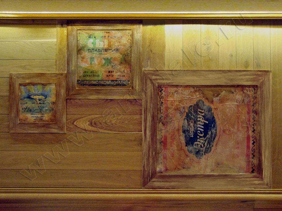 Декорирование деревянных панелей. Декупаж. Фрагмент