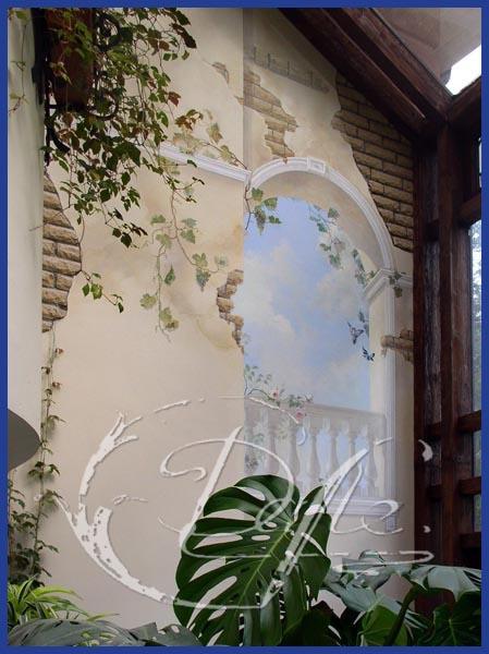 Роспись стены в зимнем саду. Темпера