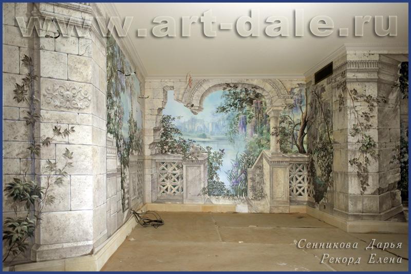 Роспись стен в загородном доме. Фрагмент. Роспись- обманка