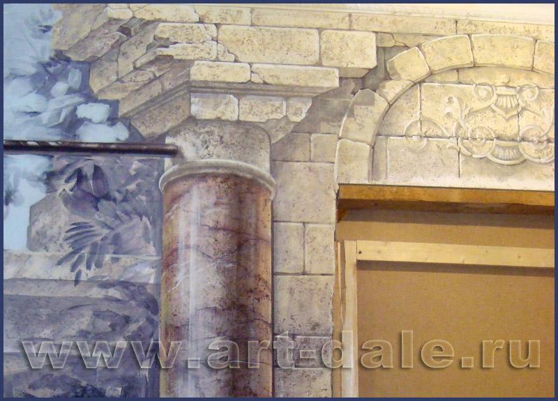 Роспись стен под камень. Колонна